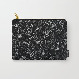 White ink, black card board. Graphic art, ink spring flowers Carry-All Pouch