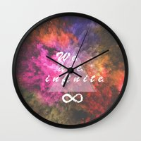 infinite Wall Clocks featuring Infinite by MJ Mor