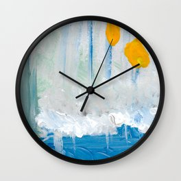 Color Fields with Yellow Dots Wall Clock