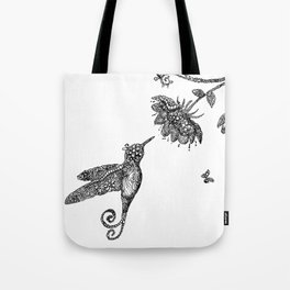 Humming Bird and flowers Zentangle Tote Bag