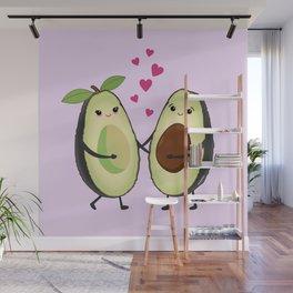 Cute avocados in love Wall Mural