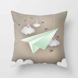 Green Paper Plane Throw Pillow