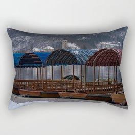 Pletna Boats At Bled Lake Rectangular Pillow