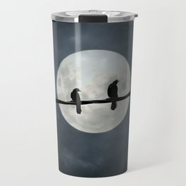 Two Crows In The Light Of A Silvery Moon Travel Mug