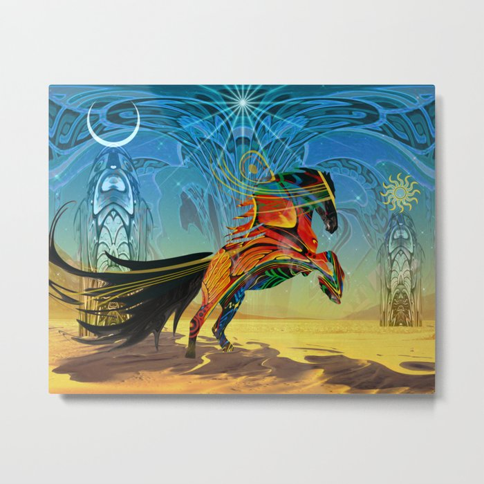 The Wind of Time (Red Horse) Metal Print
