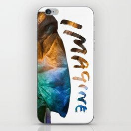 Colored drapery with text iPhone Skin