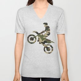 Camouflage Camo Dirt Bike Motocross Unisex V-Neck