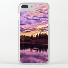 Surreal Purple Clouds Reflecting on Calm Water Clear iPhone Case
