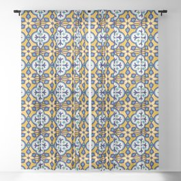Yellow and Blue Moroccan Tile Sheer Curtain