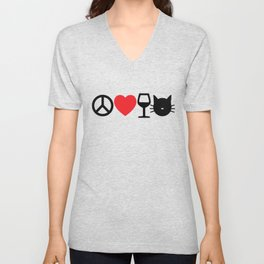 Peace, Love, Wine and Cats Unisex V-Neck