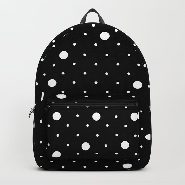 Pin Point Polka Dots White on Black Rucksack