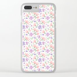Magnolia and Iris Embroidery Style Clear iPhone Case