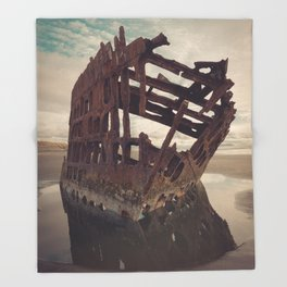 Shipwrecked - The Peter Iredale Throw Blanket