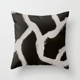 Cracking, Abstract, Black & White Throw Pillow