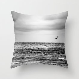 Stormy Beach Throw Pillow