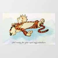 hobbes Area & Throw Rugs featuring Calvin Rests for Big Adventure by WimpyGeek Art