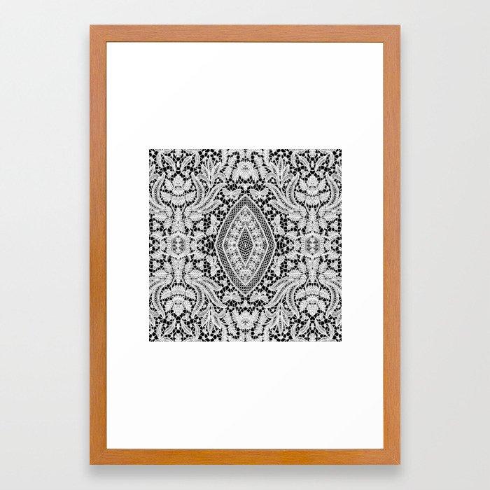 Elegant Black White Floral Lace Damask Pattern Framed Art Print by ...