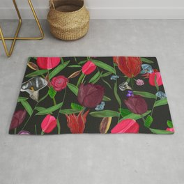 Red, Pink and Claret Red Colored Tulips With Roses and Lily Elegant Pattern Rug
