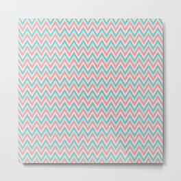 Pink & Blue Chevrons Metal Print