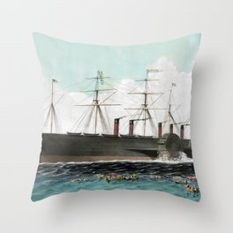 Vintage SS Great Eastern Steamboat Painting (1858) Throw Pillow