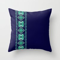 nordic Throw Pillows featuring NORDIC by Oksana Smith