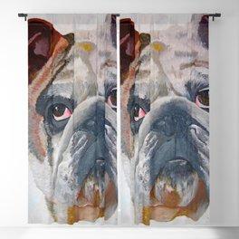 American Bulldog Artistic Pet Portrait Blackout Curtain