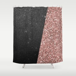 Abstract black rose gold geometrical glitter Shower Curtain