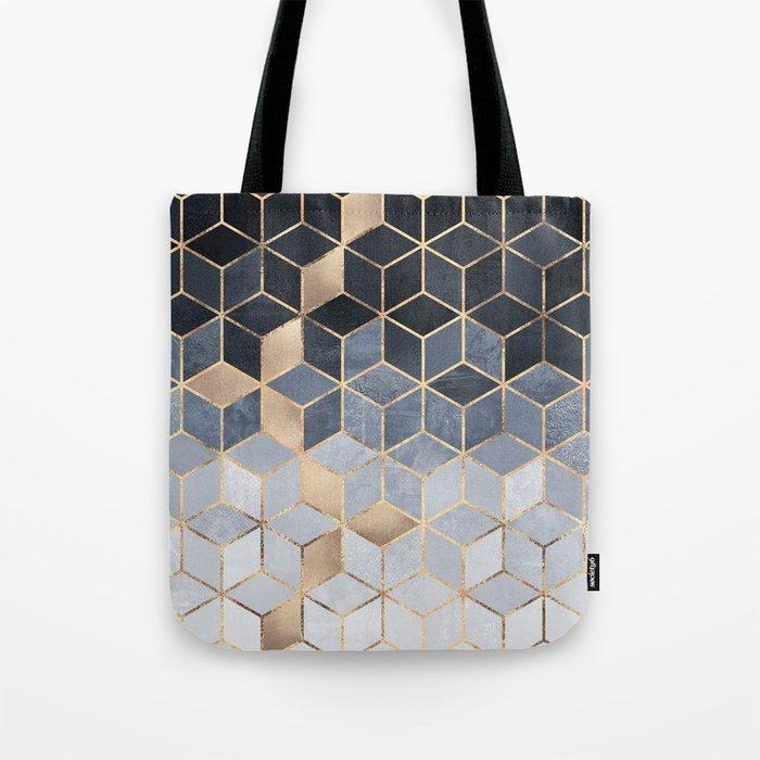 Soft Blue Gradient Cubes Umhängetasche
