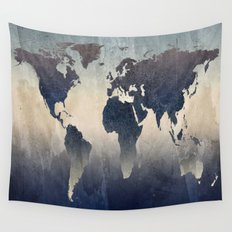 World Map Gray Wall Tapestry