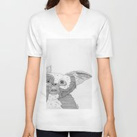 gizmo V-neck T-shirts featuring Gizmo / Mogwai. by Bundles of Film