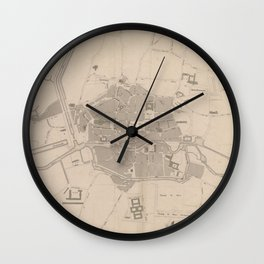 Vintage Map of Rennes France (1829) Wall Clock