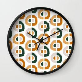 Mid Century Modern Abstract Yellow And Teal Pattern VII  Wall Clock