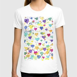 Colorful Heart Pattern Paint Splatters T-shirt