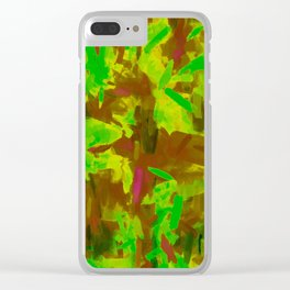 green yellow brown painting texture abstract background Clear iPhone Case