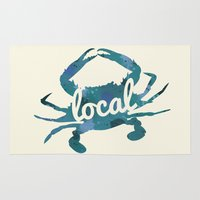 maryland Area & Throw Rugs featuring Maryland Blue Crab Local by O'Postrophy