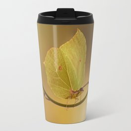 Yellow butterfly on blue forget-me-not flowers Travel Mug