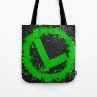 luigi Tote Bags featuring Luigi Splat by Donkey Inferno