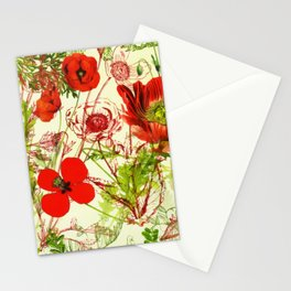 Vintage Red Green Poppies Summer Wildflowers Stationery Cards