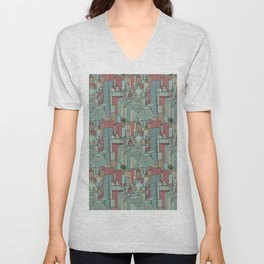 City living in red and teal tones Unisex V-Neck