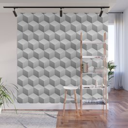 Isometric 3D Cubes Repeating Pattern Wall Mural