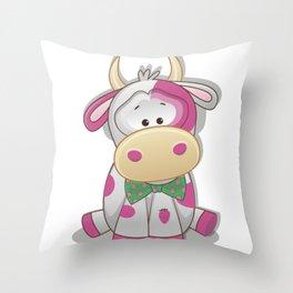 Strawberry cow ! Throw Pillow