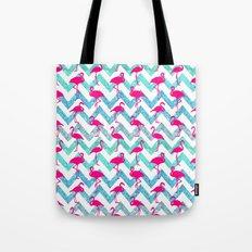 Go Flamingo! Tropical Pink Neon Flamingos Teal Glitter Chevron Tote Bag