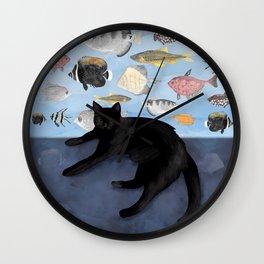 Ivy the Black Cat & The Fish Tank Wall Clock