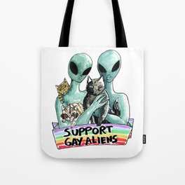 support gay aliens Tote Bag