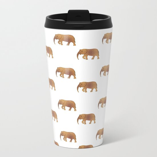 Golden elephants on a white background Metal Travel Mug