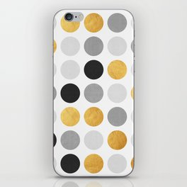 Gray and gold circles iPhone Skin