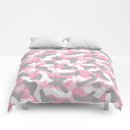 Pink and Grey Gray Camo Camouflage Comforters