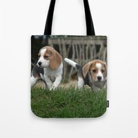puppies Tote Bags featuring Beagle puppies by Martina Berg