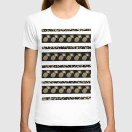 Chic black and gold confetti pineapple stripes T-shirt