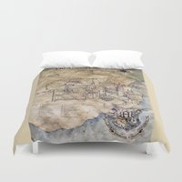 hogwarts Duvet Covers featuring Hogwarts Map by Sarah Ridings